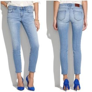 Madewell Light Wash Midrise Ankle Skinny Jeans